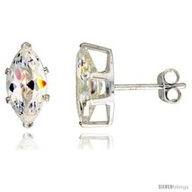 Sterling Silver Cubic Zirconia Stud Earrings 2 cttw Marquise  - $11.71