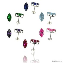 6-pair set Sterling Silver CZ Stud Earrings 1 cttw Marquise Shape Emerald, Blue  - $49.14