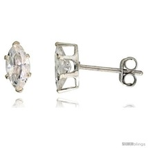 Sterling Silver Cubic Zirconia Stud Earrings 3/4 cttw Marquise  - $7.50