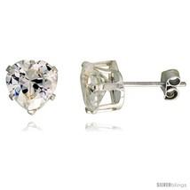 Sterling Silver Cubic Zirconia Stud Earrings 2 1/4 cttw Heart  - $12.45