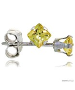Sterling Silver Color Cubic Zirconia Stud Earrings 3 mm Citrine Yellow Square  - $5.89