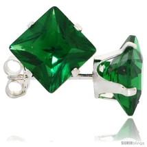 Sterling Silver Princess cut Cubic Zirconia Stud Earrings 7 mm Emerald Green  - $10.80
