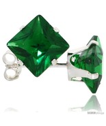 Rling silver princess cut cubic zirconia stud earrings 7 mm emerald green color 4 cttw thumbtall