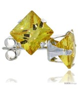 silver princess cut cubic zirconia stud earrings 6 mm citrine yellow color 2 1 2 cttw thumbtall
