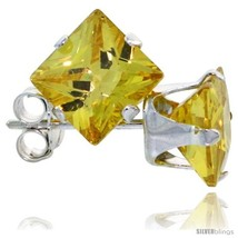 Sterling Silver Princess cut Cubic Zirconia Stud Earrings 6 mm Citrine Y... - $167,98 MXN