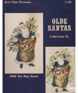 1906 Toy Bag Santa, Sew Fine Christmas Cross Stitch Pattern Booklet L-22 - $2.95