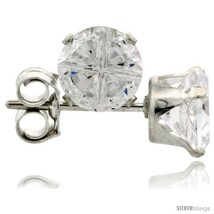 Sterling Silver Cubic Zirconia Stud Earrings 5 mm 1 cttw Invisible  - $9.16
