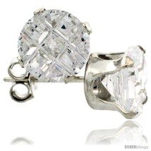 Sterling Silver Cubic Zirconia Stud Earrings 7 mm 2.5 cttw Invisible  - $12.75