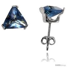 Sterling Silver Cubic Zirconia Stud Earrings 7 mm Triangle Shape Blue Topaz  - $18.22