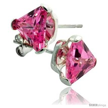 Sterling Silver Cubic Zirconia Stud Earrings 7 mm Triangle Shape Pink Colored 2  - $18.22