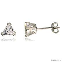 Sterling Silver Cubic Zirconia Stud Earrings 3/4 cttw Trillion  - $8.33