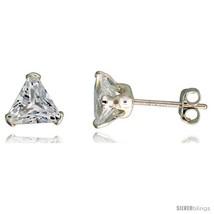 Sterling Silver Cubic Zirconia Stud Earrings 1 1/2 cttw Trillion  - $11.24