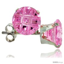 Sterling Silver Cubic Zirconia Stud Earrings Pink Zircon Color Invisible Cut  - $10.40