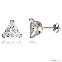 Sterling Silver Cubic Zirconia Stud Earrings 3 1/2 cttw Trillion  - $14.62