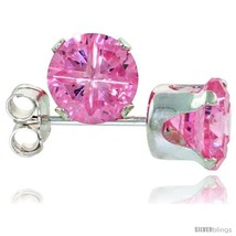 Sterling Silver Cubic Zirconia Stud Earrings Pink Zircon Color Invisible Cut 2  - $8.76