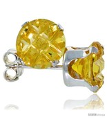 Erling silver cubic zirconia stud earrings citrine yellow color invisible cut 2 5 cttw thumbtall