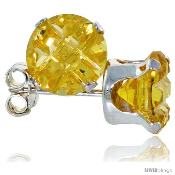 Sterling Silver Cubic Zirconia Stud Earrings Citrine Yellow Color Invisible Cut  - $10.40