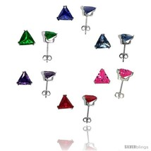 6 pair set Sterling Silver Cubic Zirconia Stud Earrings 7 mm Triangle Shape  - $48.38