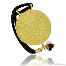 Sterling Silver Islamic 99 NAMES OF GOD Gold Plated Black Braided Leather  - $186.90