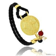 Sterling Silver Islamic HAND OF FATIMA Gold Plated Black Braided Leather  - $85.38