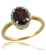 Size 6 - 10k Yellow Gold Diamond Halo Garnet Ring 1.2 ct Oval Stone 8x6 ... - $279.51