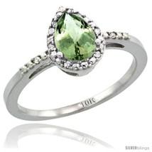 10k white gold diamond green amethyst ring 0 59 ct tear drop 7x5 stone 3 8 in wide thumb200