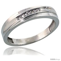 Size 10 - Sterling Silver Men's Diamond Wedding Band Rhodium finish, 3/16 in  - $76.68