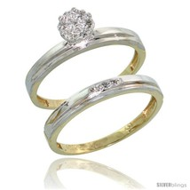 Diamond engagement rings set 2 piece 0 07 cttw brilliant cut 1 8 in wide style ljy006e2 thumb200