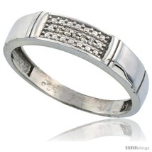 Size 9 - Sterling Silver Men's Diamond Wedding Band Rhodium finish, 3/16 in  - $84.09