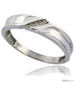 Size 11.5 - Sterling Silver Men's Diamond Wedding Band Rhodium finish, 3... - $69.26