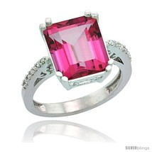 Size 10 - 14k White Gold Diamond Pink Topaz Ring 5.83 ct Emerald Shape 1... - $726.55