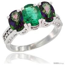 Size 8.5 - 10K White Gold Natural Emerald & Mystic Topaz Sides Ring 3-St... - $596.15