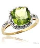 Size 6 - 10k Yellow Gold Diamond Peridot Ring 2.08 ct Cushion cut 8 mm S... - $459.60