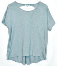 She + Sky Heathered Sea Blue Open Laced Ladder Back T-Shirt Top Size L