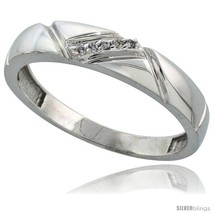 Size 12.5 - Sterling Silver Men's Diamond Wedding Band Rhodium finish, 3/16 in  - $64.30