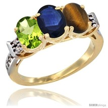 An item in the Jewelry & Watches category: Size 5 - 10K Yellow Gold Natural Peridot, Blue Sapphire & Tiger Eye Ring