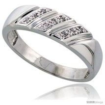 Size 8 - Sterling Silver Men's Diamond Wedding Band Rhodium finish, 1/4 in wide  - $84.09