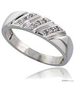 Size 11.5 - Sterling Silver Men's Diamond Wedding Band Rhodium finish, 1... - $84.09