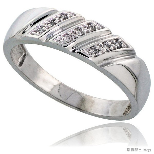Size 14 - Sterling Silver Men's Diamond Wedding Band Rhodium finish, 1/4 in  - $84.09