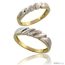 Size 7.5 - 10k Yellow Gold Diamond Wedding Rings 2-Piece set for him 5 m... - $423.08