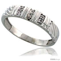 Size 14 - Sterling Silver Men's Diamond Wedding Band Rhodium finish, 3/16 in  - $66.78