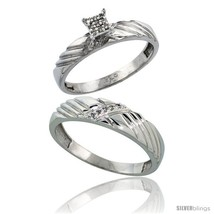 Size 7.5 - Sterling Silver 2-Piece Diamond wedding Engagement Ring Set f... - $136.04