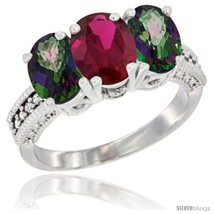 Size 8.5 - 10K White Gold Natural Ruby & Mystic Topaz Sides Ring 3-Stone... - $562.26