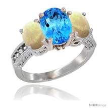 An item in the Jewelry & Watches category: Size 7 - 14K White Gold Ladies 3-Stone Oval Natural Swiss Blue Topaz Ring with