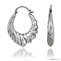 Sterling Silver High Polished Hoop Earrings, 1 3/16in   - $64.85