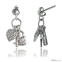Sterling Silver Jeweled Post Earrings, w/ Heart Key Padlock & Cubic Zirc... - $69.24