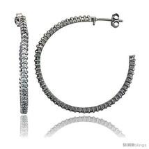 Sterling Silver Hoop Earrings Prong Set CZ, 1 9/16 in. 40  - $59.72