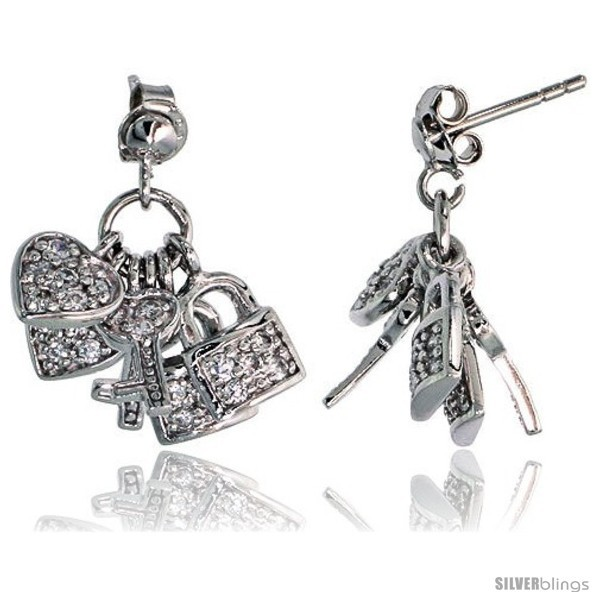 Primary image for Sterling Silver Jeweled Post Earrings, w/ Heart Key Padlock & Cubic Zirconia,