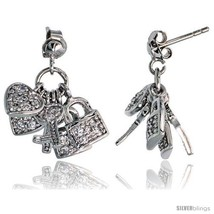 Sterling Silver Jeweled Post Earrings, w/ Heart Key Padlock & Cubic Zirc... - $121.54