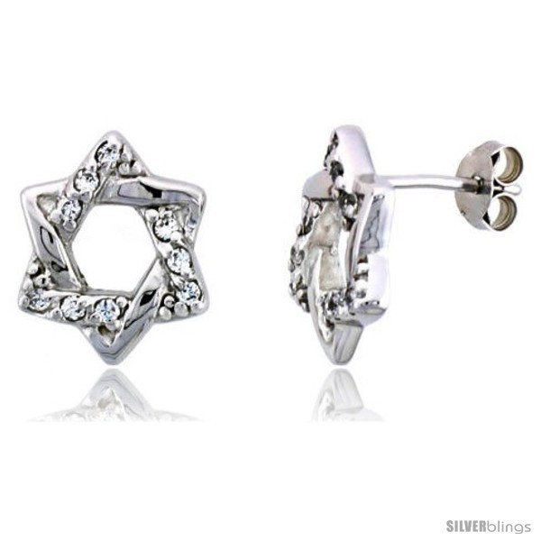 Primary image for Sterling Silver Jeweled Star-of-David Post Earrings, w/ Cubic Zirconia stones,